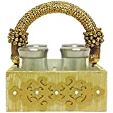 "Wooden Gold And White Textured Mukhwas Tray With Cut Out Design And Bling, Tradional Gold Handle And 4 Glass Air Tight Jars: Home Dinning Or Kitchen Use - 5.5"" X 5.5"" X 8.5"""
