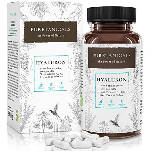 Hyaluronsäure Kapseln hochdosiert laborgeprüft – 350mg Hyaluron + Vitamin C, B12, Zink, Biotin, Selen | Anti-Aging Haut Gelenke | Vegan, 500-700 kDa, ohne Magnesiumstearat hergestellt in Deutschland