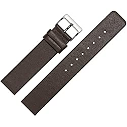 Smooth Leather Watch Band 22 mm Brown - Spare Strap Adapted for Skagen Watch with Screw-Down Special in the morning - Simple MARBURGER Watch Band passend for Skagen Watch - Dark Brown/Silver