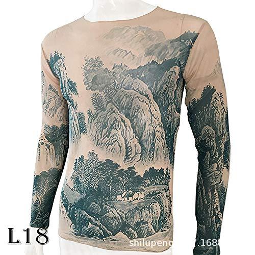 tzxdbh Tattoo Tattoo Langarm T-Shirt Damen Fan Digitaldruck Bodenbildung Shirt Musik Festival Kostüm L18 170CM-182CM 60KG-110KG (Tarzan Kostüm Bilder)