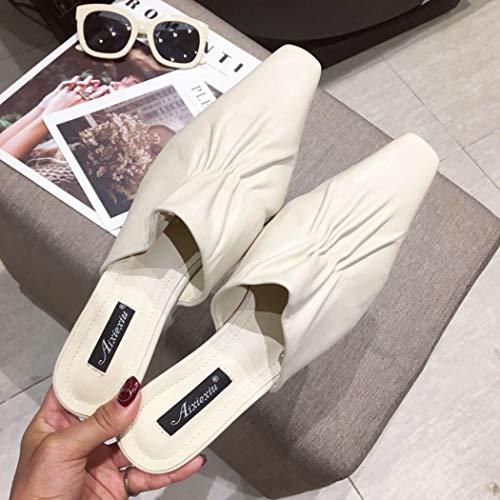 YOPAIYA Sandalen Damen Sommer Flach,Frauen Hausschuhe Apricot Kleine Transparente Ferse Rutschen Damen Herbst Sommer Schuhe Frau Mule Loafer Designer Pantoletten Schuhe, 36 -