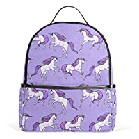 COOSUN Purple Unicorn Pattern School Backpacks Bookbags for Boys Girls Teens Kids