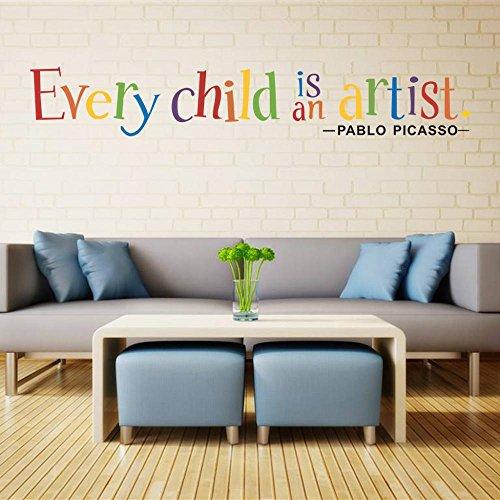 Pottoa EnglischJedes Kind ist Ein Künstler Wandkunst Aufkleber PVC-Tapete Möbel Dekoration Wandaufkleber -