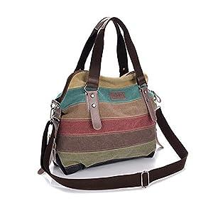 Damen Handtaschen Piebo Multi-Color-Striped Rucksack Frauen Handtasche Umhängetasche Schultasche Canvas Shopper Henkeltaschen