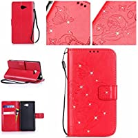 Casefirst Sony Xperia M2 wallet case Sony Xperia M2 case,Premium Design PU Leather & Soft TPU Built-In Card/Cash Slots,Wallet Case By (Red)