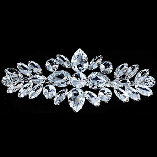 Silber Strass Motiv mit/Diamanten Kristall zum Aufnähen Aufnäher Patch für Hochzeit Brautschmuck Casual Formale Verzierung Fashion Zubehör 110mm x 50mm von trimmen Shop (Diamant-hochzeit White Gold Bands)