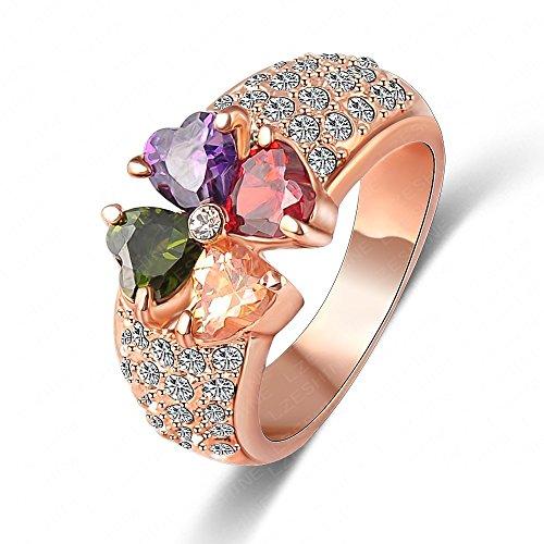 AnaZoz Joyería de Moda Corazón Trébol Zircon Anillo Real 18K Chapado en Oro Rosa Genuino SWA Element Flor Anillo Cristal Tamaño 17
