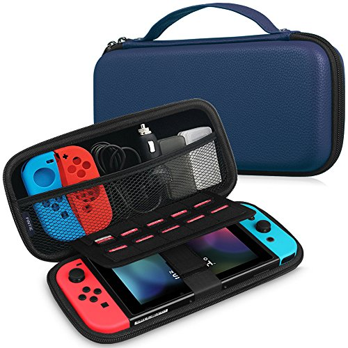 Price comparison product image Fintie Nintendo Switch Carry Case - Premium PU Leather Coated Hard EVA Shell Portable Travel Protective Storage Bag Pouch with Zipper Anti Shock for Nintendo Switch Console & Accessories, Navy