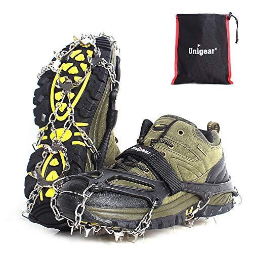Unigear Crampones Ligero de Nieve Hielo 18 Puntas Dientes De Acero Zapatos Antideslizante para Cámping Alpinismo Acampada Senderismo Marcha Invierno (Negro, L)