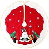 WeRChristmas 100cm grande decoración para base de árbol de Navidad con diseño de Papá Noel y nieve 3d, color rojo