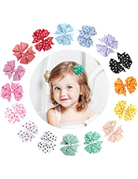 Yinson 16 Packs 3 Pollice Neonate Nastro Del Grosgrain Mini Fiore Stampato Boutique Capelli Archi Clip Set per...