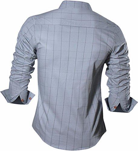 Jeansian Hommes Mode Casual Chemises Carreaux Manche Longue Men's Fashion Casual Plaid Shirt Tops 84N1 gray