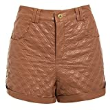 SS7 Damen Shorts hoher Bund Kunstleder Shorts, hellbraun, Größen 6 bis 14 - Hellbraun, 40