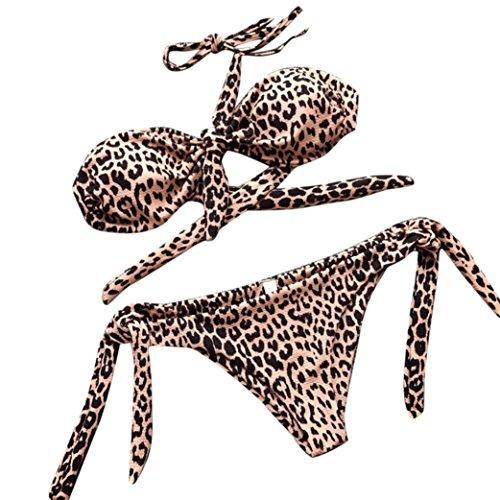 PAOLIAN Trajes de baño de Dos Piezas Bikini Sexy Mujer Verano 2018 Ropa de Playa Bañador Impreso Punto y Grano del Leopardo Tankinis Push up señora Swimsuit Tanga Camisolas y Pareos (L, Marrón)
