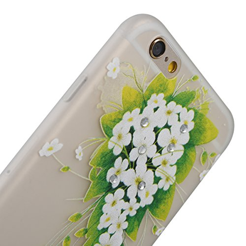 Coque Housse Etui pour iPhone 6 Plus/6S Plus, iPhone 6S Plus Coque en Silcone avec Bling Diamant, iPhone 6 Plus Coque Noctilucent Souple Slim Etui Housse, iPhone 6 Plus/6S Plus Silicone Case Soft Gel  hiver jasmin