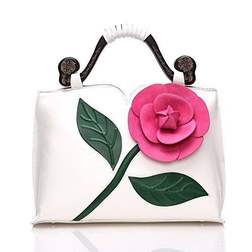 WTUS Damen Klassische Vintage Rose Dreidimensionale Große Blumen Tasche Schlug Farbe Holz Tragbare Handtaschen -Schulter-Kurier Schnitzen Beuteltote Weiß