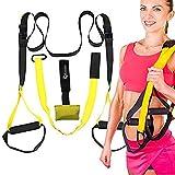 Cinghie per allenamento in sospensione per allenamento di resistenza, cross fit, palestra a casa, palestra, fitness, da viaggio, nero