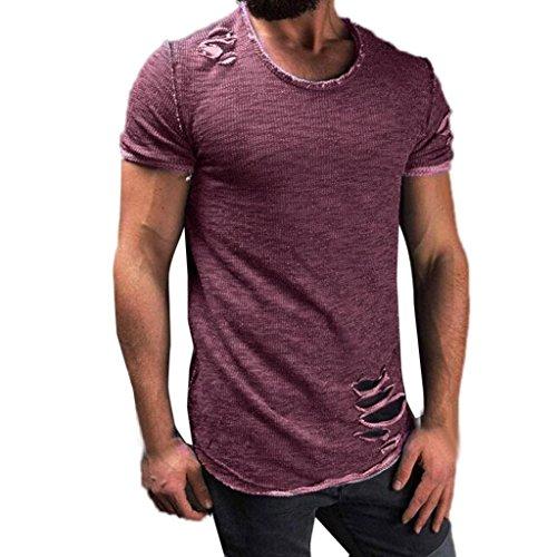 Ningsun t-shirt uomo fori maniche corte irregolari collare tops casual moda camicia a manica corta da uomo a collo alto cotone comodo pullover maglietta del foro di modo degli uomini (viola, l4)