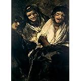 La demonología, magia, ocultismo y magia dos mujeres y un hombre, de las pinturas negras de Francisco Goya c1819-23 250gsm A3 polarmk tarjeta del cartel de la reproducción