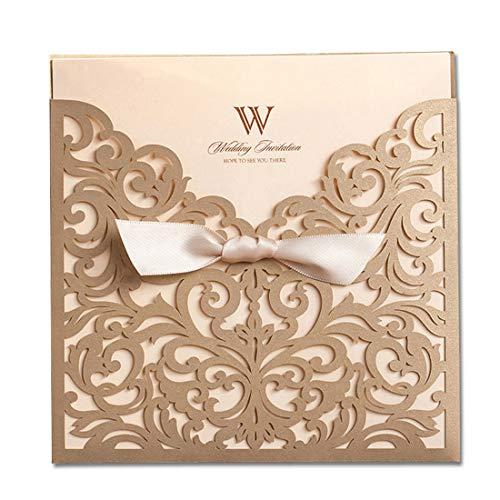 Wishmade 70x Quadratisch Gold Laser Schnitt Hochzeit Einladungen Karten mit Bowknot Tri-Fold Karton Ärmel aus Spitze für Verlobungsring Baby Dusche Geburtstag Quinceanera cw5011