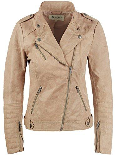 DESIRES Zalla Damen Lederjacke Bikerjacke Echtleder Mit Reverskragen, Größe:XL, Farbe:Simple Taupe (0162)