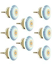 JP Hardware Ceramic Beautiful Knobs for Cabinets and Cupboards Drawer Pulls (Standard Size, Multicolour) Pack of 8