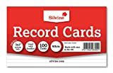 """Silvine 5x3"""" Record Cards - Lined with headline, 100 cards per pack. Ref 553W (127 x 76mm)"""