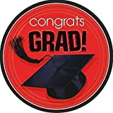 """Amscan Flying Graduation Party School Colors Round Plates (18 Piece), Apple Red, 9"""" x 9"""""""