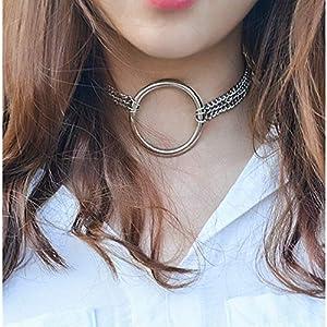 XUHAHAXL Halskette/Metall Punk Persönlichkeit Trend Weibliche Halskette Multi Layer Kette Eisen Kragen Halskette Armband