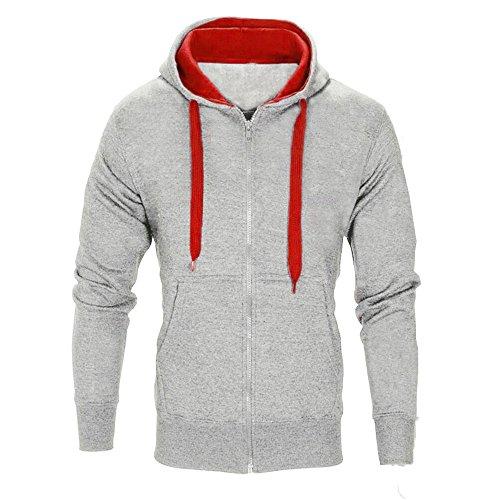 Xmiral Herren Mantel Jacke Mit Kapuze Reißverschluss Langarm Solide Sport Sweatshirt(EU 46,Grau)