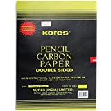 Kores Tracing Carbon Paper Double Sided Black, Set of 100 Sheets, Used in Stencil Work, Tracing, On Cloth & Paper