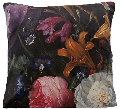 italien Housse de coussin en velours Motif floral Pivoine roses Hortensia Noir Taupe Rose 45,7 cm