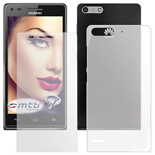 mtb more energy® Schutzglas und Hülle für Huawei Ascend P7 Mini (4.5'') | weiß/transparent | Tempered Glass Glasschutz TPU Case