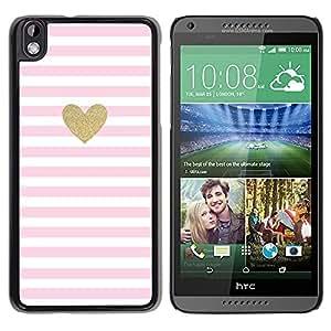 TopCaseStore / Snap On Gummi Schwarz Schutz Hülle Case Cover - Heart Gold Glitter Pink White Love Valentines - HTC DESIRE 816