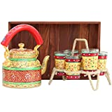 ECraftIndia Handpainted Decorative Tea Serve Set(Tray, Kettle, 6 Glasses And Glass Holder) - 113 Golden Color