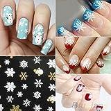 alallti Hot Gold 3d Nail Art Stickers Decals, 12hojas Top Navidad Muñeco de nieve Diseño Decoración de accesorios de uñas herramienta