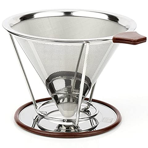 H&S Pour Over Coffee Maker Filter Stainless Steel Coffee Dripper