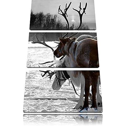 Renne nella neve bianco / nero su 120x80 immagine su tela 3 pezzi tela di canapa, grande XXL Immagini completamente Pagina con la barella, stampa d'arte su murale con la struttura, gänstiger come la pittura o pittura ad olio, nessun manifesto o poster