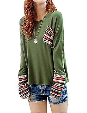 FEITONG mujer de manga larga Cuello redondo Algodón Chequeado Tapas flojas de la blusa 5 colour