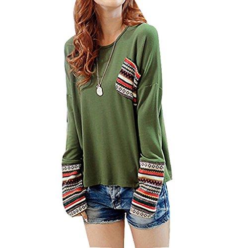 FEITONG mujer de manga larga Cuello redondo Algodón Chequeado Tapas flojas de la blusa (S, Verde)
