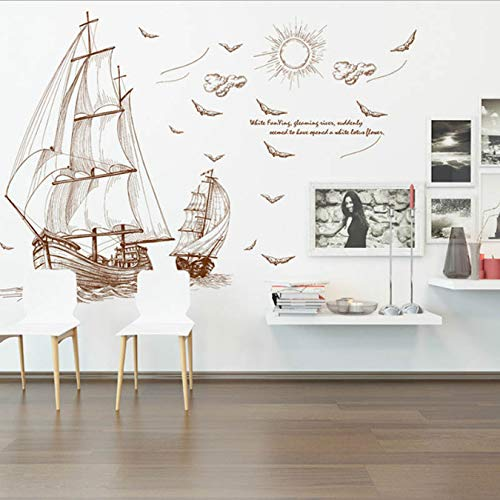 Cartoon Pirate Ship Sailing Wall Stickers For Kids Rooms Boys Removable Vinyl Pvc Decal Diy Art Home Decor (Room Pirate Decor)