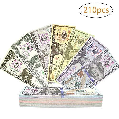 r, Color You 210 Stück Papiergeld, Rechengeld für Spielzeug Kasse | Spielwaren Kaufmannsladen 1, 2, 5, 50, 10, 20, 100 Dollar ()