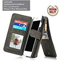 artPhone Leather look (Pu Leather) Wallet case for iPhone X/8/7/6S/6/6 Plus/6S Plus/7 Plus/8 Plus Multifunctional 3 in 1 -Wallet -Card holder -Mobile case (iPhone 7/Plus/8 Plus, Black)