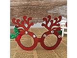 YIIO Divertenti montature per occhiali con decorazioni natalizie strass (rosso)