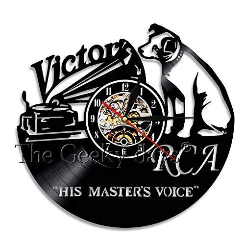 OLILEIO RCA Victor Dog Seine Stimme des Meisters Musical Dog Wanduhr Victor Nipper Hund Vintage Vinyl Record Clock Rock n Roll Musik Geschenk, ohne LED (Rca Dog Victor)