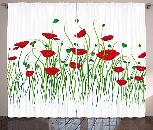ABAKUHAUS Mohn Rustikaler Gardine, Blumen auf einem ländlichen Gebiet, Schlafzimmer Kräuselband Vorhang mit Schlaufen und Haken, 280 x 225 cm, Scharlachrot Weiß Grün