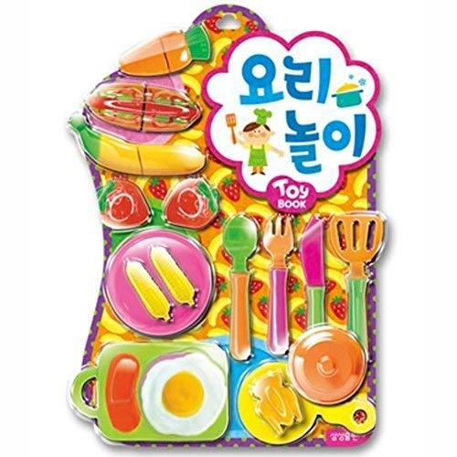 [Nobrand] Pretend Kochen Wiedergabe Kit Spielzeug Bilderbuch Mädchen Koch Rollenspiele, mit sortierten 16 Stück Koch- und Backzubehör Spielzeug (Kochen-kits Für Mädchen)