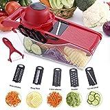 Acale Mandoline Slicer Gemüse Schneider - 5 in 1 Multi Gemüsehobel, Mandoline Reibe für Schneide, Gemüse Obst Schnell und Gleichmäßig Gemüseschneider Slicer mit 5 Verschiedene Wechselklingen (Rot)