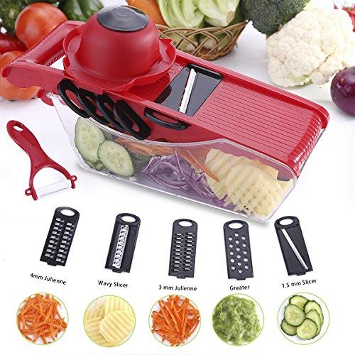 Acale Mandoline Slicer Gemüse Schneider - 5 in 1 Multi Gemüsehobel, Mandoline Reibe für Schneide, Gemüse Obst Schnell und Gleichmäßig Gemüseschneider Slicer mit 5 Verschiedene Wechselklingen (Rot) (Slicer Reibe Mandoline Set)