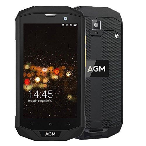 AGM A8 4G Smartphone Doble SIM 5.0 Pulgadas Android 7.0 IP68 Impermeable Anti-Agua, Antí-Choques, Anti-Polvo 3GB RAM 32GB ROM Cámara 13MP & 2MP Batería 4050mAh GPS OTG NFC Negro [AGM Oficial]
